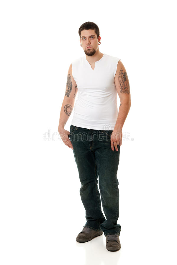 Download Young Man in White stock image. Image of studio, strong - 14858499