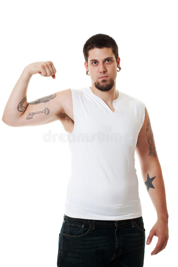 Download Young Man in White stock photo. Image of strong, tough - 14858500