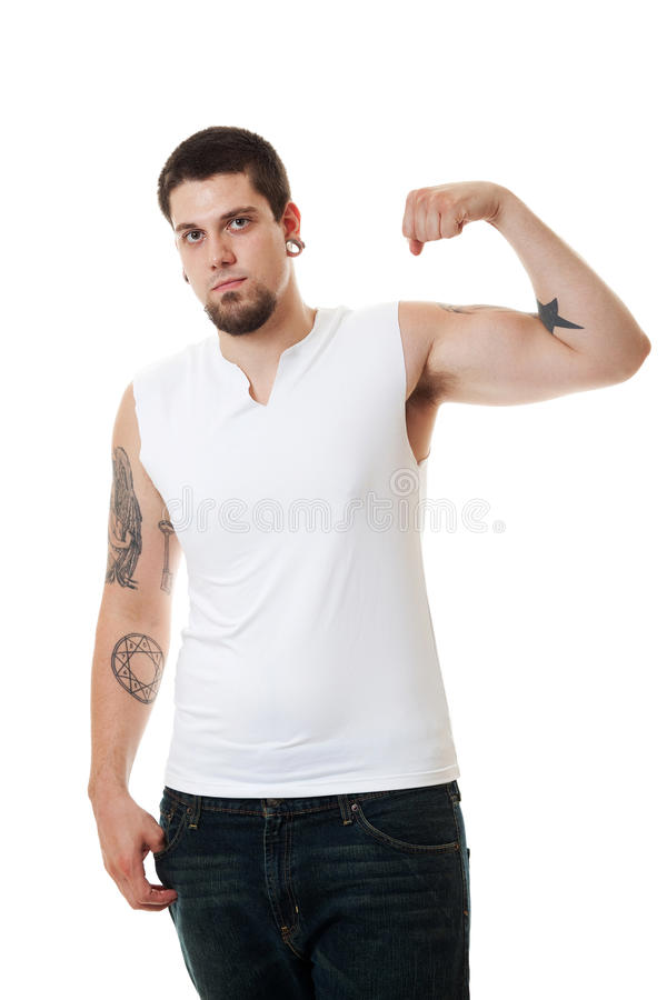 Download Young Man in White stock photo. Image of casual, tshirt - 14858502