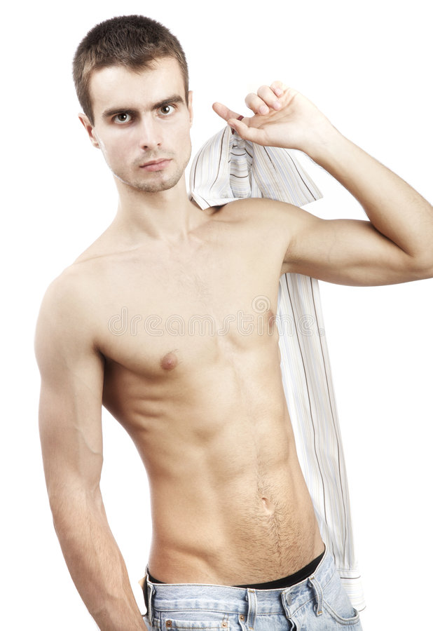 Young man on a white background stock image