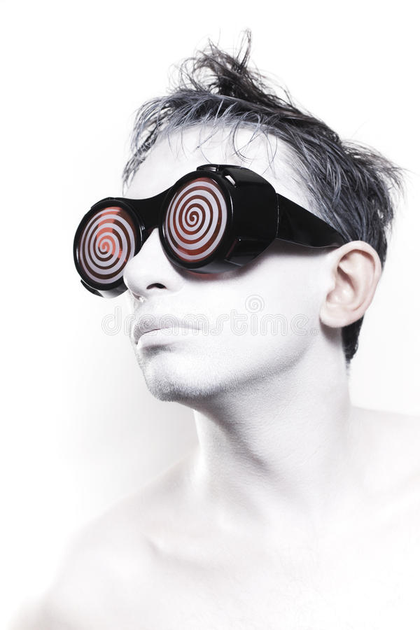 Download Young Man With White Skin In Strange Glasses Stock Photo - Image of makeup, glasses: 15551140