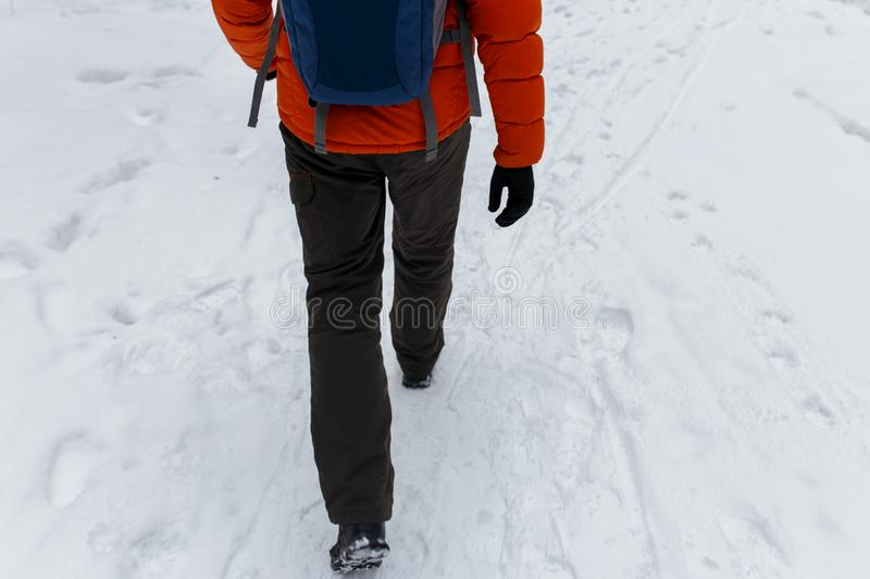 Young man on winter walk royalty free stock photography