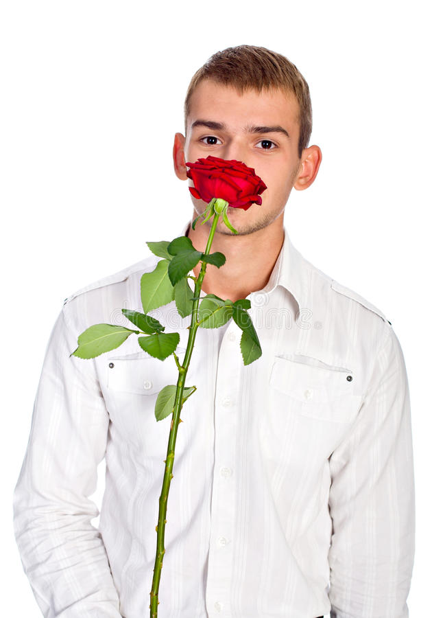 Free Young Man With Rose Stock Photography - 18043942