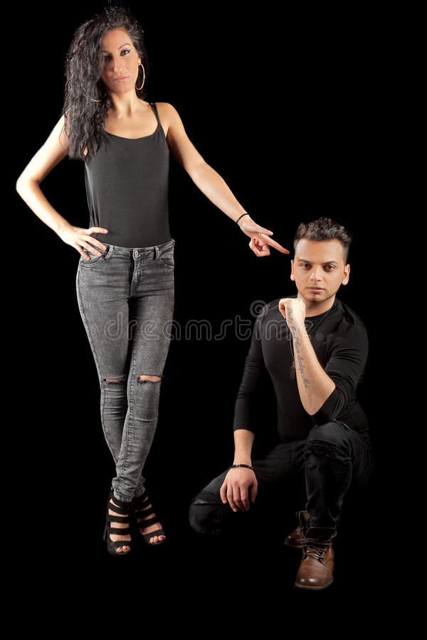Young man woman black stock photography
