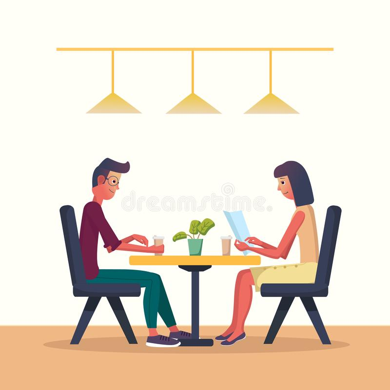 Young man and woman in a cafe and drinks coffee. Vector illustration with the interior of a cafe, restaraunt. Cartoon flat style stock illustration