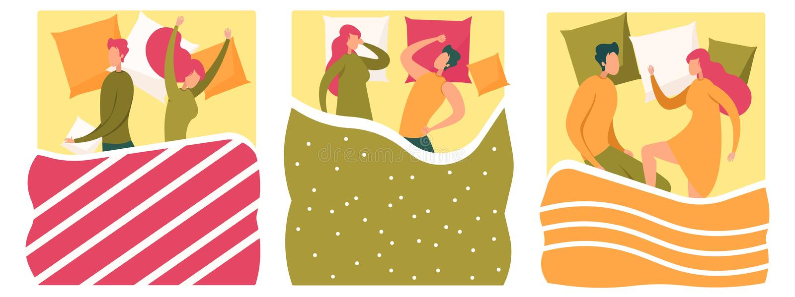 Young Man and Woman Couple Sleeping in Bed Set vector illustration