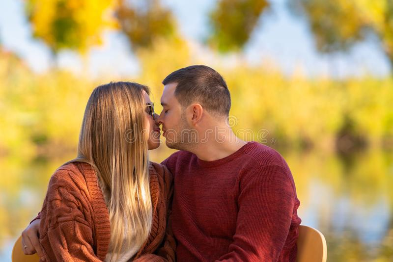 Young man and woman deeply in love stock image