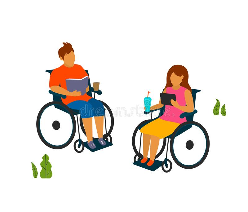 Young man and woman with disabilities spend time in the park reading vector illustration royalty free illustration