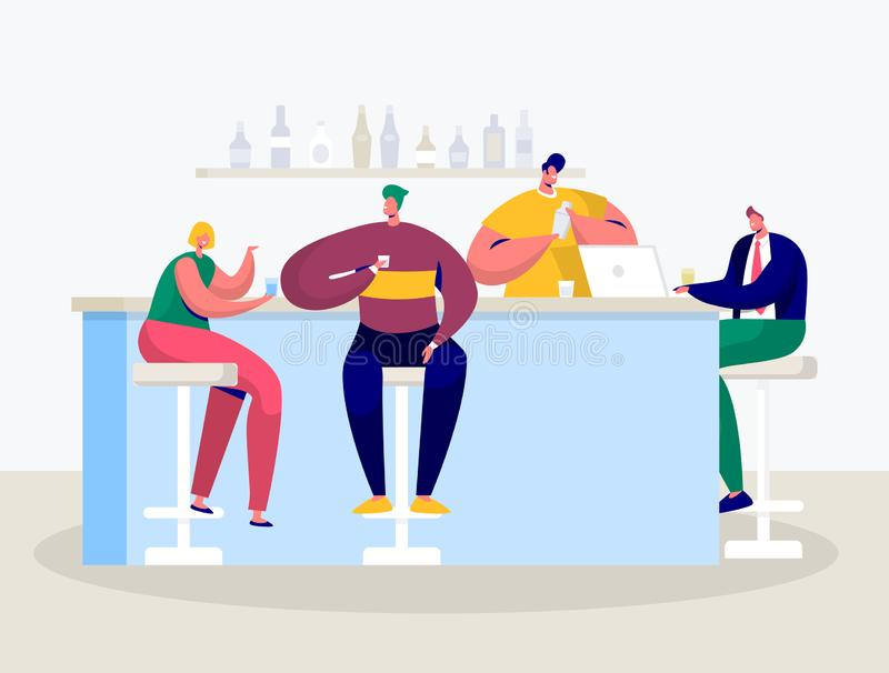 Young Man Woman Drink in Bar. Businessman Work on Laptop by Counter. Friends Hanging in Cafe Drinking Alcohol Cocktail. Flat Cartoon Vector Illustration vector illustration