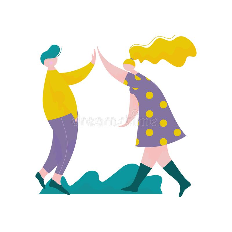 Young Man and Woman Giving High Five to Each Other, Male and Female Characters Having Fun, Human Interaction, Friendship vector illustration