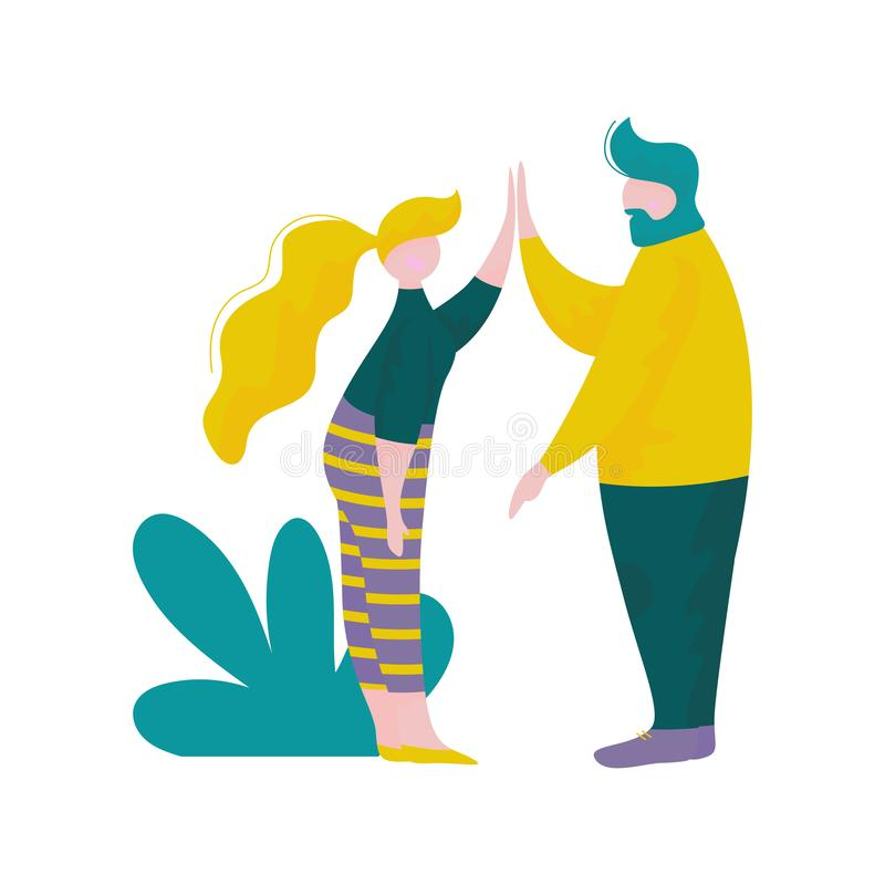 Young Man and Woman Giving High Five to Each Other, Male and Female Characters Having Fun Outdoors, Human Interaction royalty free illustration