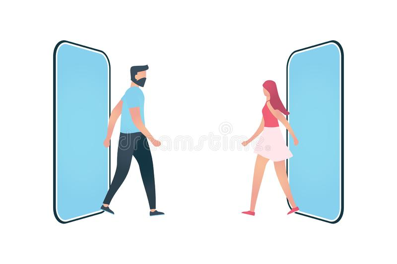 Young man or and woman go on a date royalty free illustration
