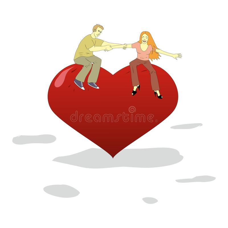 Young man and woman have fun on a big heart. Vector illustration stock illustration