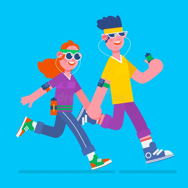 Young man and woman jogging. Young man and woman running it with music earphones and smart phone.Fitness run flat vector illustrat. Young man and woman jogging royalty free illustration
