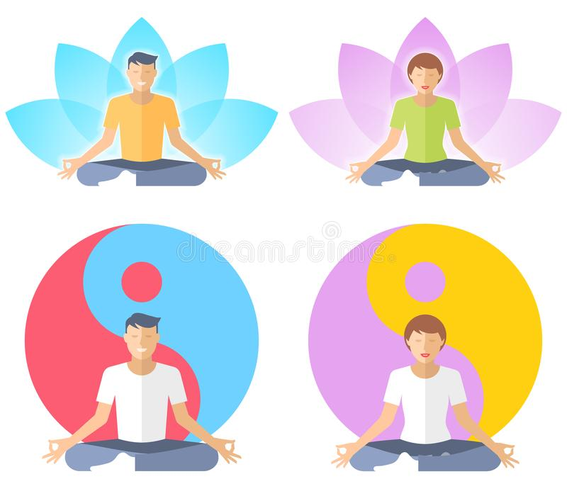 Young man and woman meditate in the lotus pose. royalty free illustration