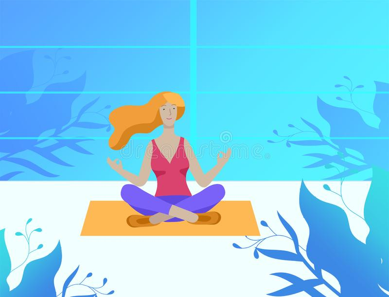 Young Man and woman meditate, sitting in yoga posture, performing aerobics exercise at home. Physical and spiritual vector illustration