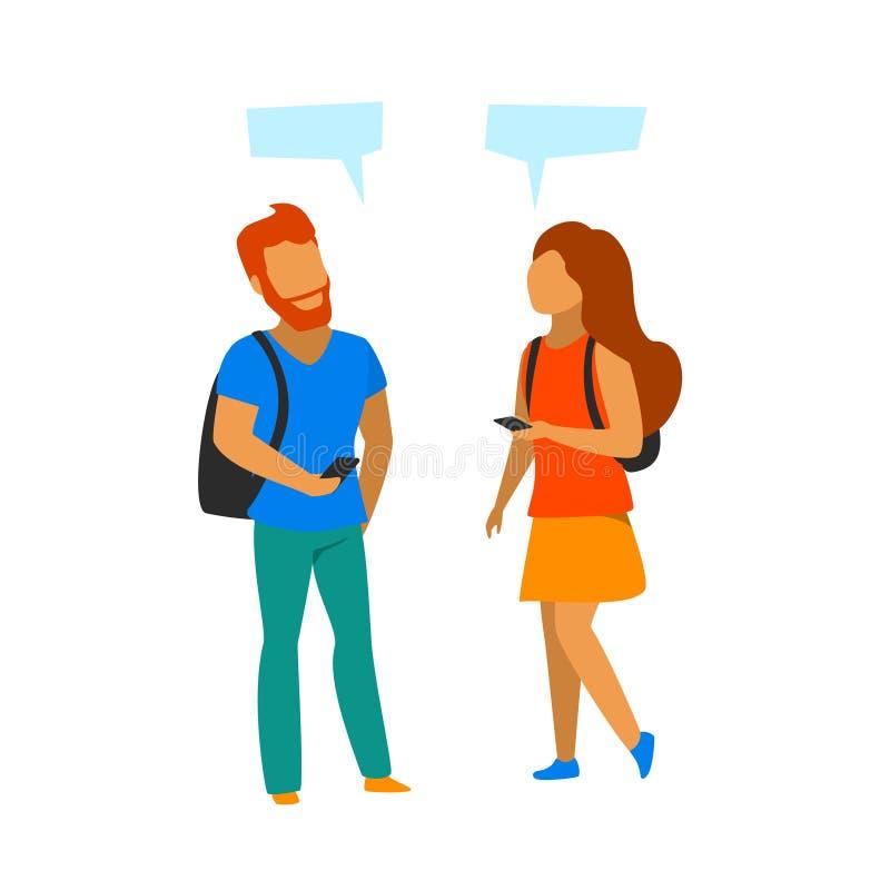 Young man and woman meeting up, making contact, talking royalty free illustration