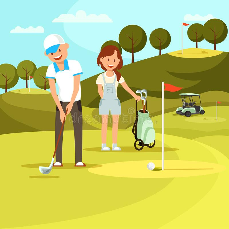 Young Man and Woman Playing Golf on Field. Sport stock illustration