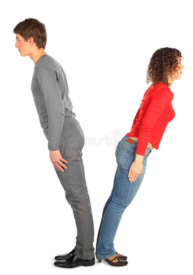 Young Man And Woman Represents  Letter V Stock Photos