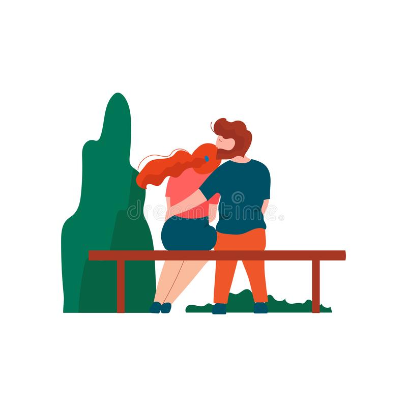 Young Man and Woman Sitting on Bench in Park, Romantic Couple, Happy Lovers on Date Back View Vector Illustration stock illustration