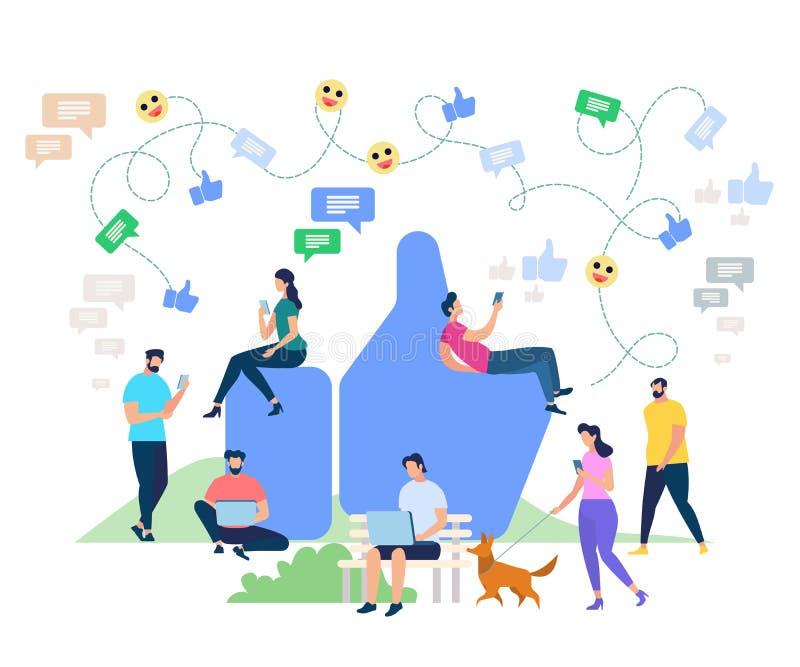 Social Media Networking Cartoon Characters stock illustration