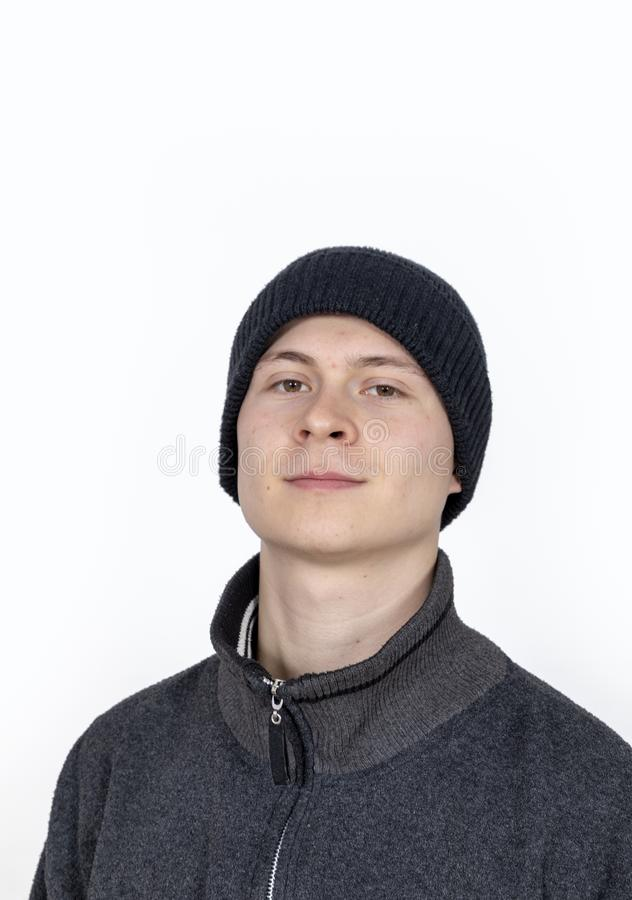 Young man with wooly hat stock images