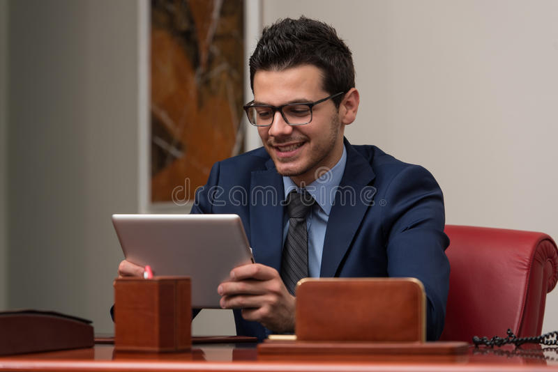 Download Young Man Working On Computer In Office Stock Image - Image: 43253347