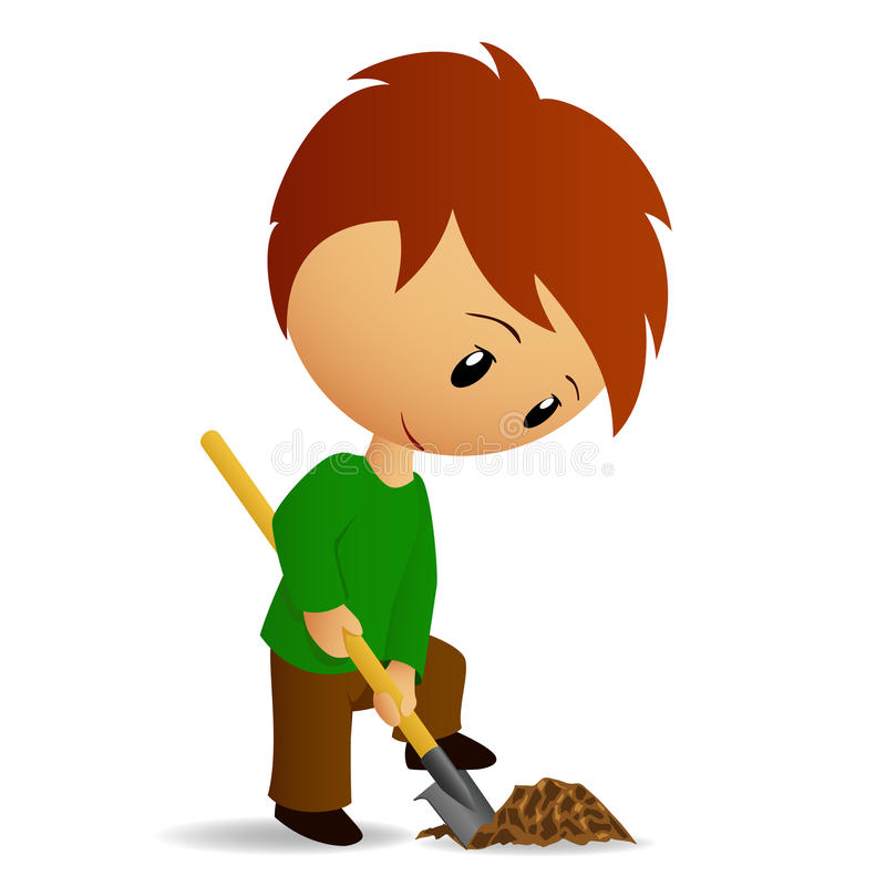 Young Man Working digger with spade vector illustration