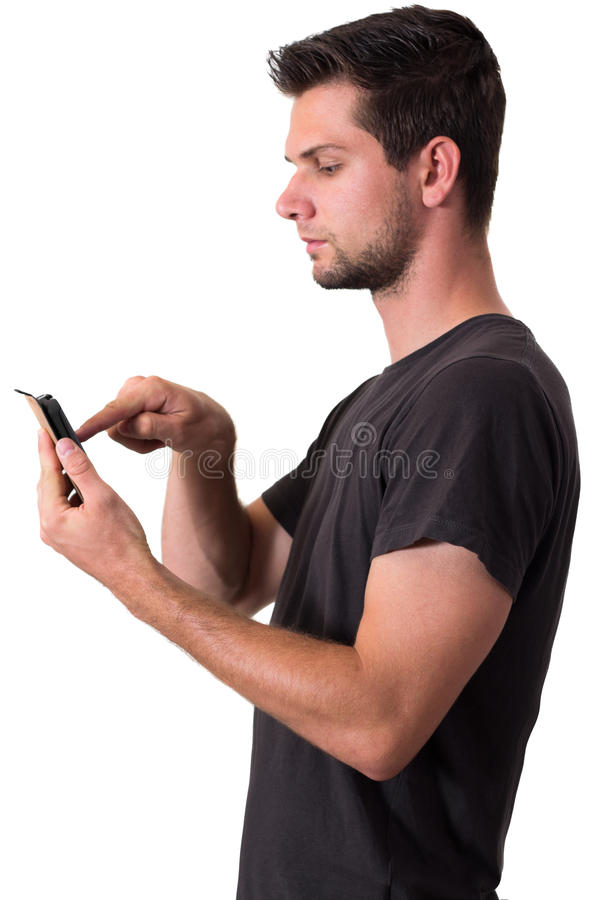 Download Young Man Working On His Smartphone Stock Image - Image: 26031703