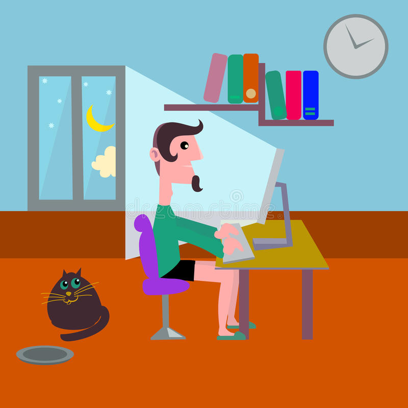 Young man working in the home late night royalty free illustration