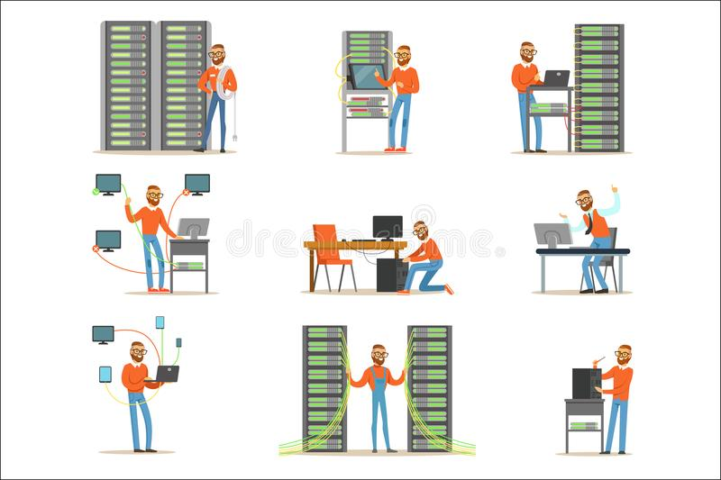 Young man working in network server room. Technician at the data center set of colorful Illustrations. Isolated on white background vector illustration