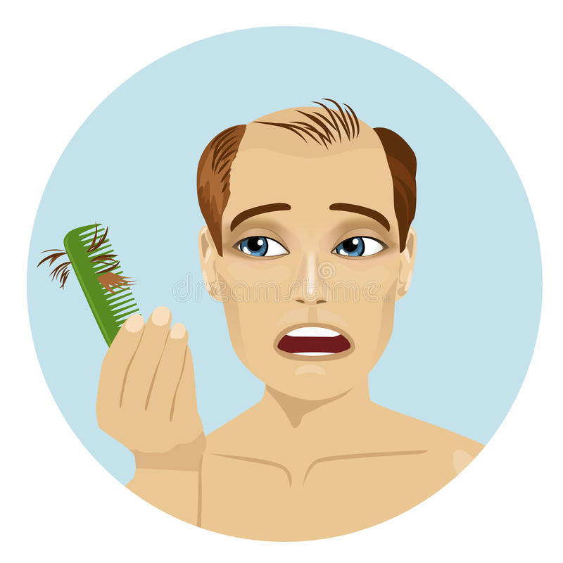 Young man worried about hair loss holding comb looking at it stock illustration