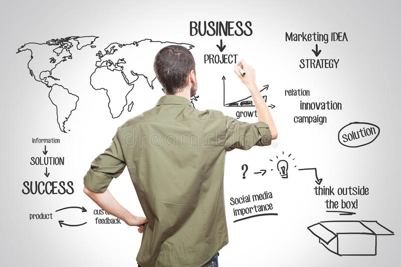 Young man writing about business stock images