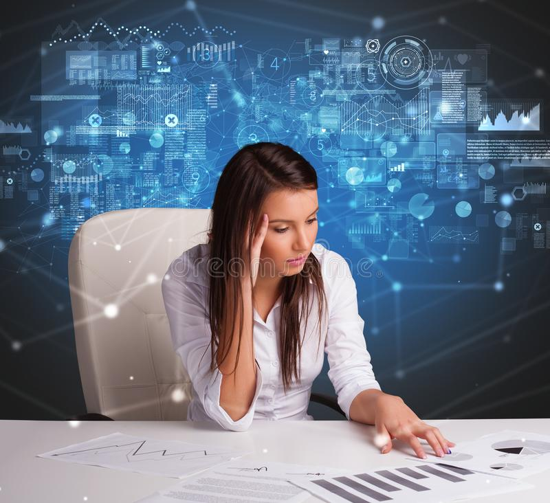 Manager at the office making reports and statistics royalty free stock photography