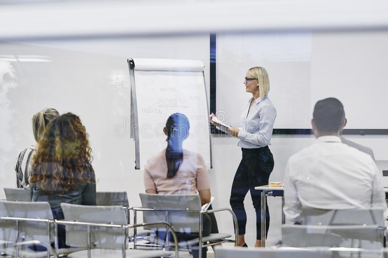 Manager explaining business concepts to her team royalty free stock photos