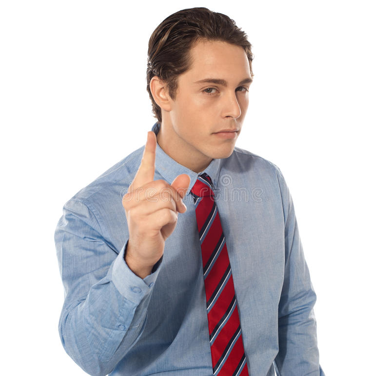 Download Young manager warning you stock photo. Image of isolated - 24140256