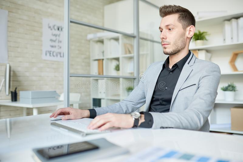 Young Manager Wrapped up in Work. Waist-up portrait of confident young manager sitting in front of modern computer and working on start-up project, interior of royalty free stock photo