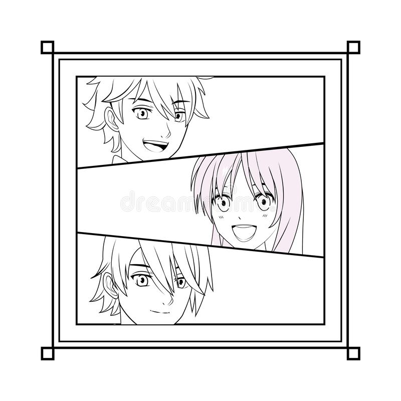 Young manga face. Cartoon black and white vector illustration graphic design royalty free illustration