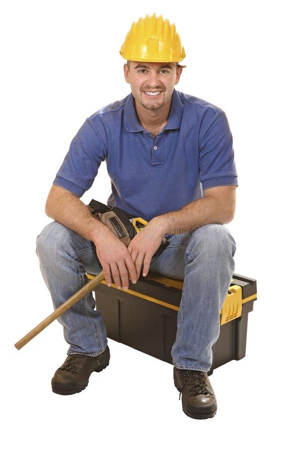 Young Mantool Sit On Tool Box Stock Photos
