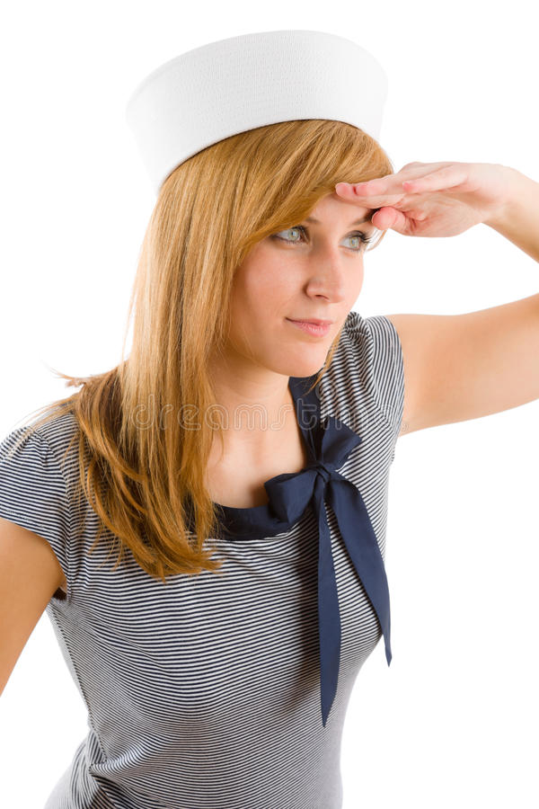 Young Marine Woman Saluting Navy Outfit Stock Photo