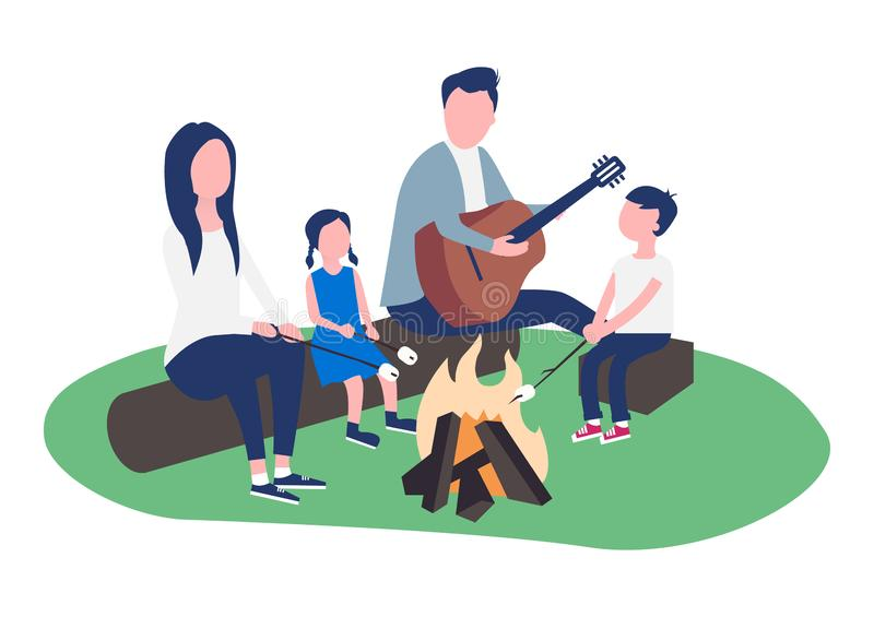 Young married couple with children at a campfire picnic royalty free illustration