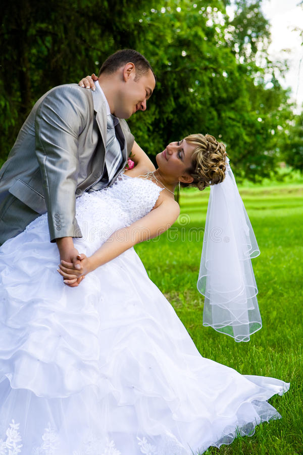 Download Young married pair posed stock image. Image of grass - 12637571