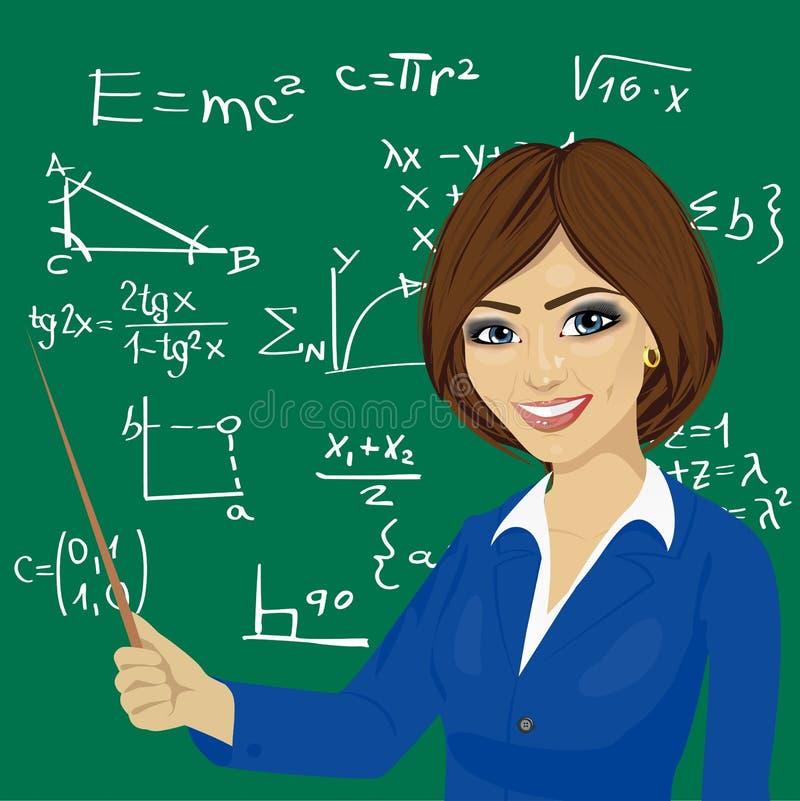 Young Math Teacher Standing Next To Blackboard Stock Vector ...