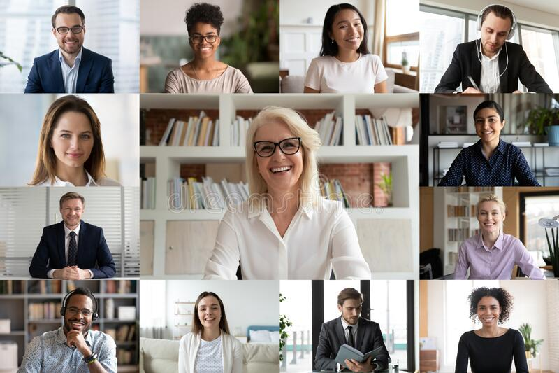 Diverse businesspeople using videoconference application laptop webcam screen view. Young and mature businesspeople using videoconference application, engaged in royalty free stock images