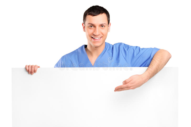 Download Young Medical Doctor Showing On A Blank Panel Stock Image - Image: 18959039