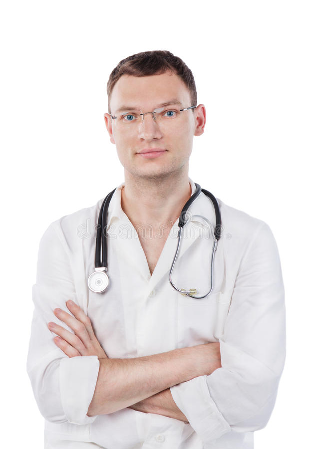 Young medical doctor with stethoscope. Smiling nurse man . Isolated over white background. Studio shot stock photography