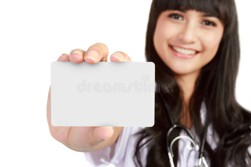 Download Young Medical Doctor Woman Showing Business Card Stock Image - Image: 22052711