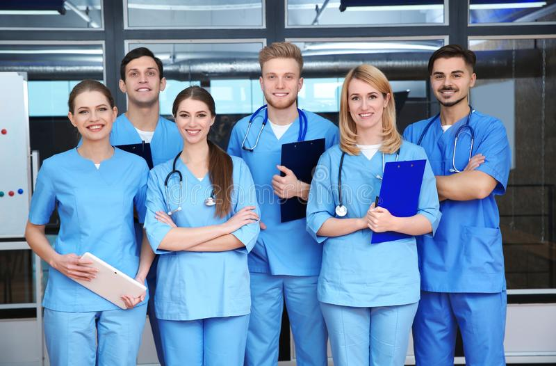Young medical students. In university lecture room royalty free stock images