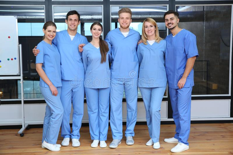 Young medical students. In university lecture room stock images
