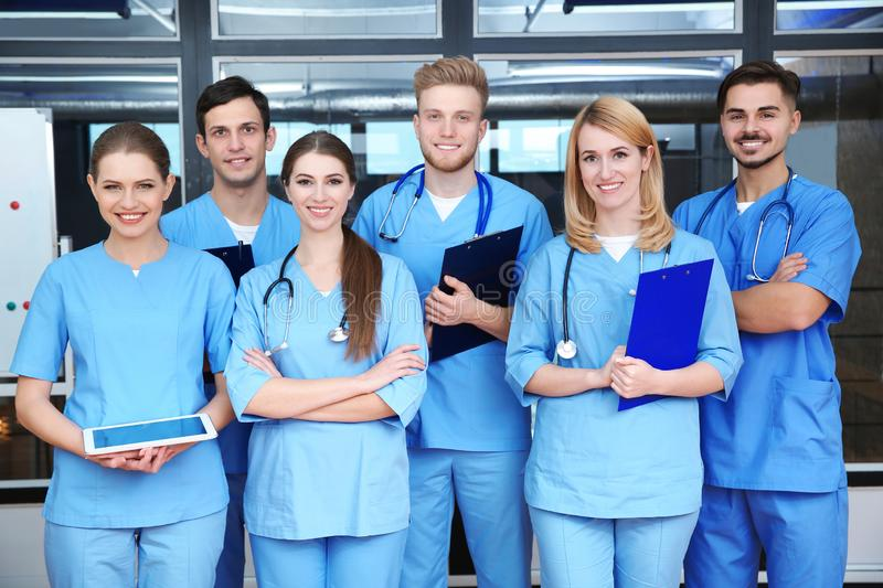 Young medical students. In university lecture room stock photo